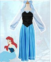 Nova Fantasia Do Dia Das Bruxas Mulheres Traje Adulto Vestido de Princesa Ariel A Pequena Sereia Ariel Vestido Azul