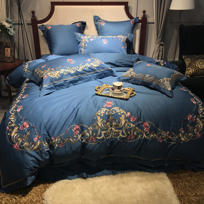 Blue Red Luxury Egyptian Cotton King Queen Size Bedding