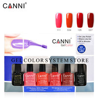 NEW 6pcs/lot CANNI soak off led long lasting UV Nail Gel Varnish base coat gel no wipe topcoat nail art color gel kit set