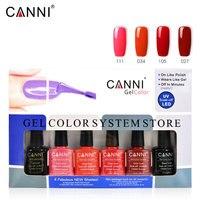 NEW 6pcs/lot CANNI soak off led long lasting UV Nail Gel Varnish base coat gel no wipe topcoat nail art color gel kit set