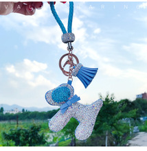 Hot Sale Fashion Accessories Crystal Bling Dog Pendant Luxury Diamonds Dog Hanging for Bag for Key Ornaments Cars Adornment