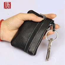 Women Split Leather Vintage Solid Key Bag Keychain Holder Case Zipper Wallet Purse Key holder