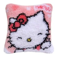 DIY Latch Hook Kits Rug Pillowcase Crocheting Cushion Carpet Canvas Rugs Mat Cartoon Sewing Needlework for Adults Kids Gift Cat