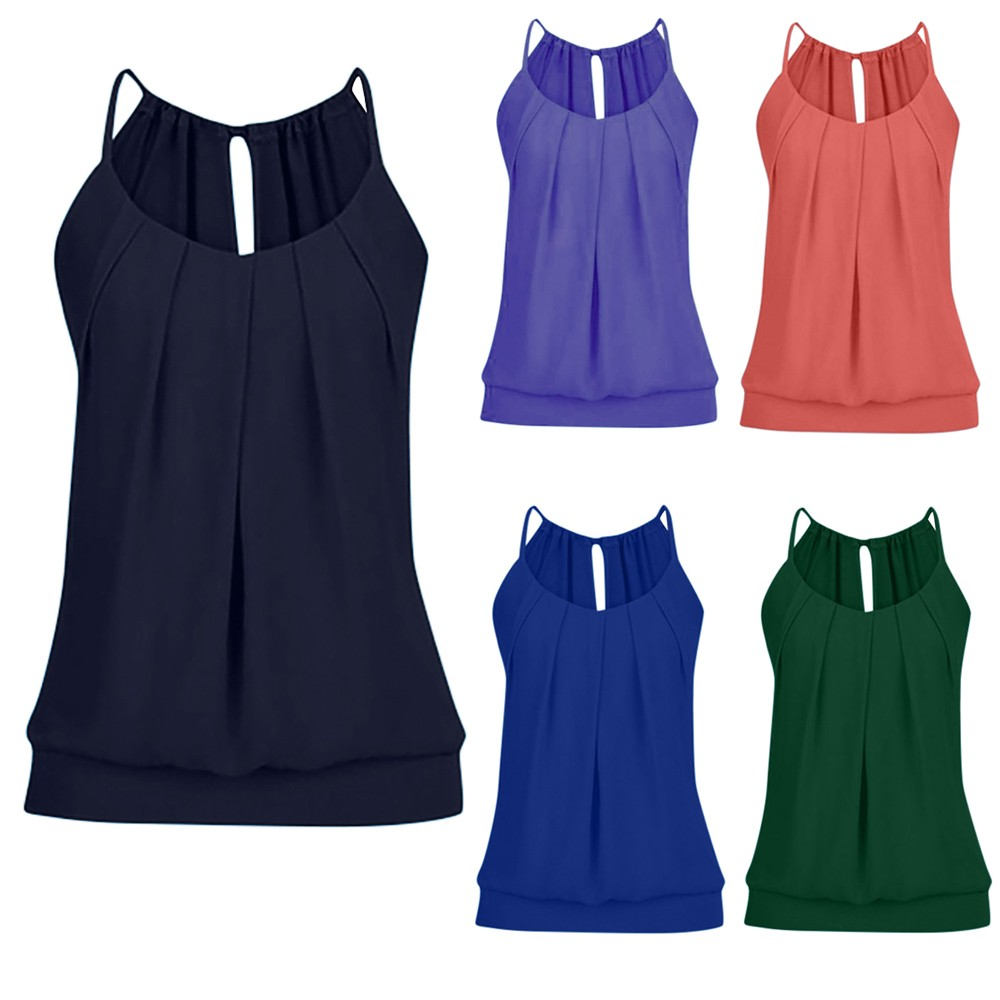 Sexy   Tanks   Women Summer Loose Wrinkled O Neck Cami   Tank     Tops   Vest Blouse Mujer style Vogue Fashion 2019 New
