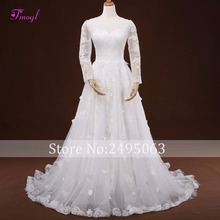 Fsuzwel Elegant Wedding Dress 2019 Long Sleeve A-Line