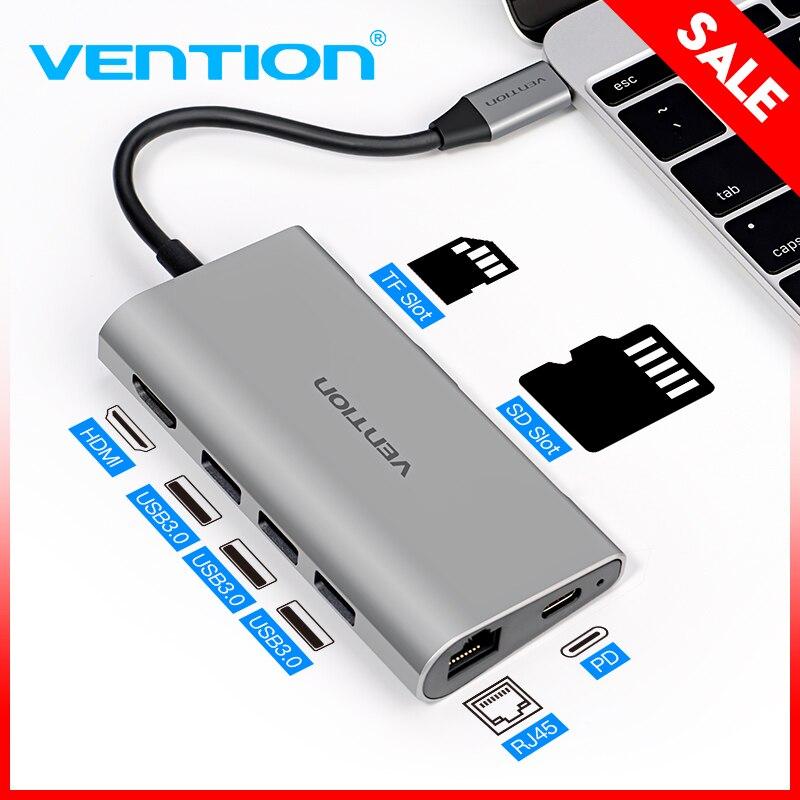 Tions Thunderbolt 3 Dock Adapter USB C zu HDMI VGA USB 3.0 HUB RJ45 PD für MacBook Pro Huawei P20/ mate 10 USB-C HUB