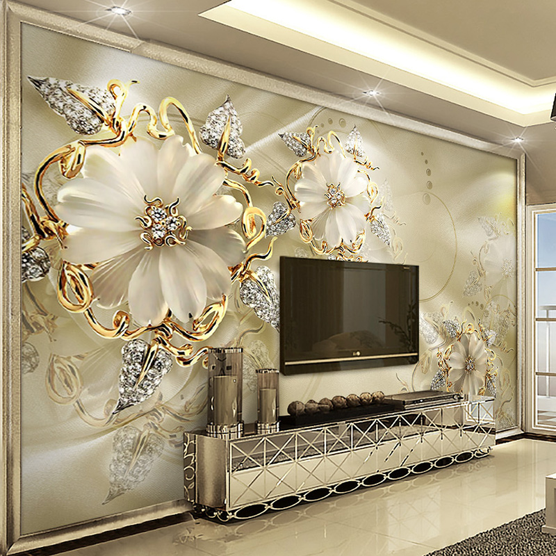 European style jewelry flower tv background wall custom for Custom mural wall covering