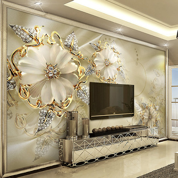 European Style Jewelry Flower TV Background Wall Custom Mural Wallpaper Home Improvement Bedroom Wall Paper Wallcoverings