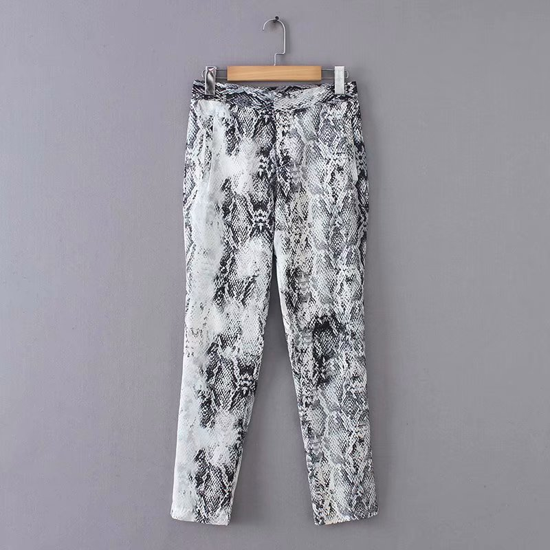 Active Women Vintage Sexy Snake Skin Pattern Printing Pants Ladies Retro Ankle Length Trousers Pockets Zipper Pantalones Mujer P172 Bottoms