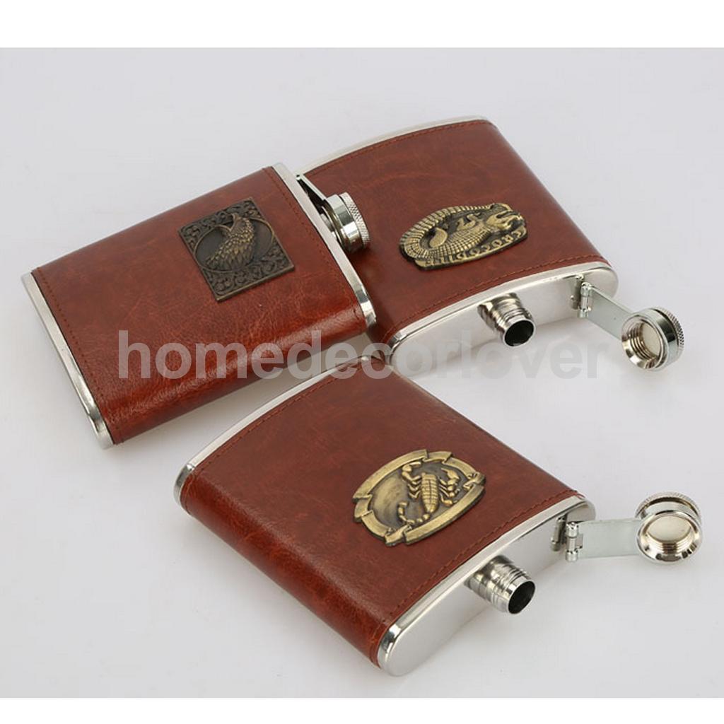 Portable Hip Flask Stainless Steel Pocket Alcohol Drink Whisky Vodka Brown