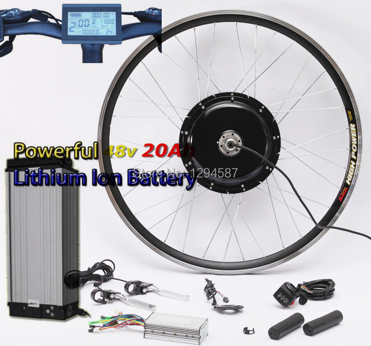 Free shipping 50KM/H newest system 48v 1000w electric bike conversion kit with 48V 20AH lithium battery pack