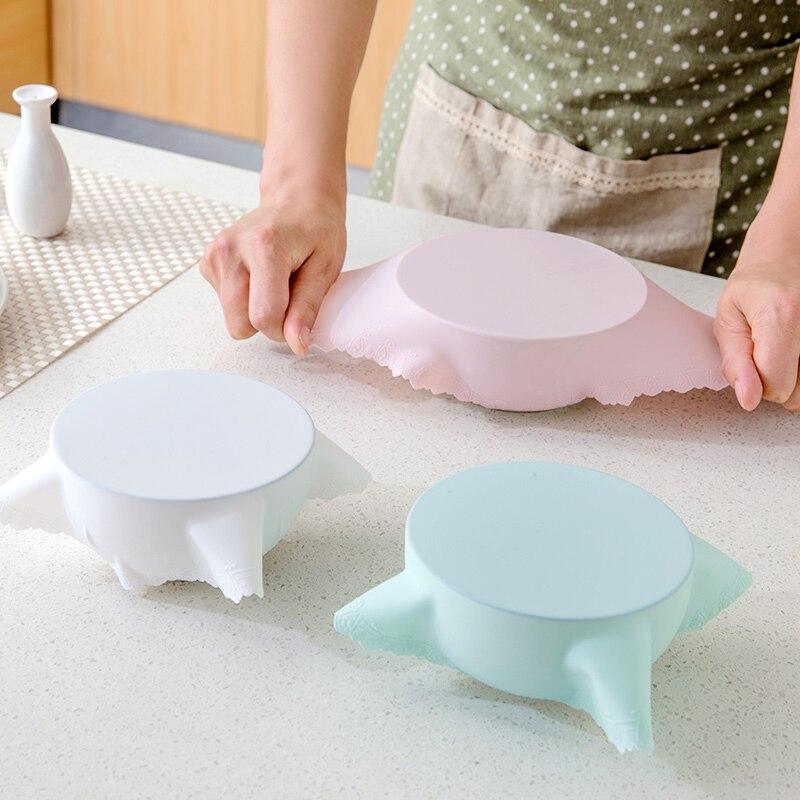 Saran Wrap Bowl Lid Cubierta de plástico de silicona cubierta Horno - Organización y almacenamiento en la casa