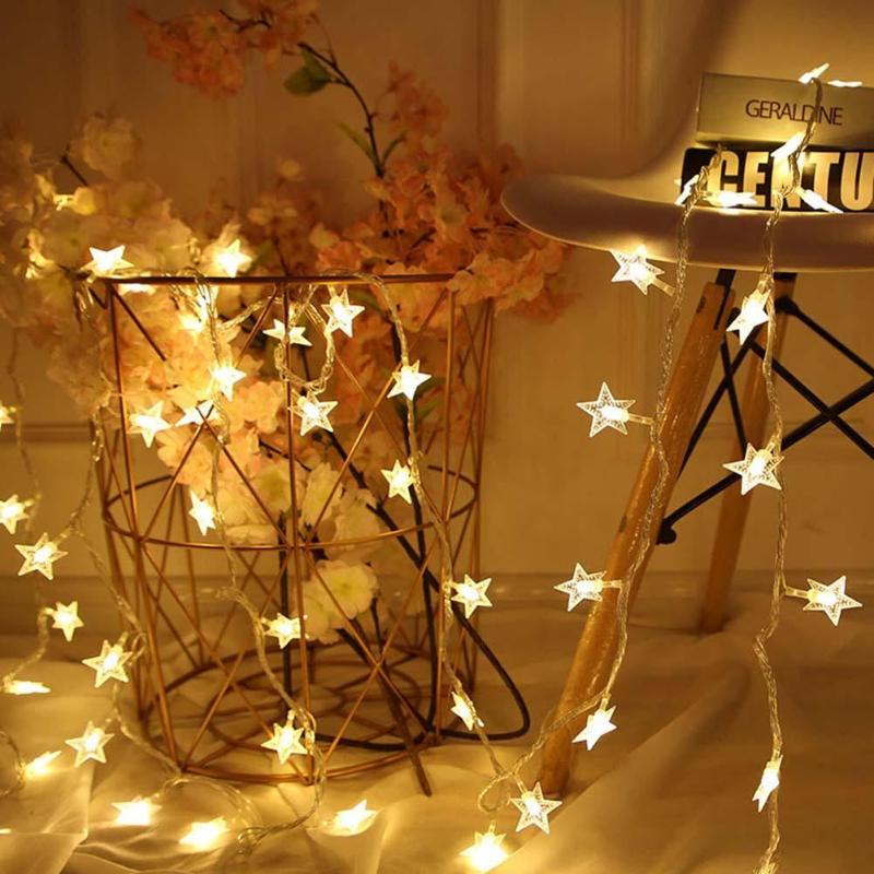 20 LED Star Romantic String Light Outdoor Fairy Garland Lamp Wedding Party Christmas Decor For Bedroom Holiday Party
