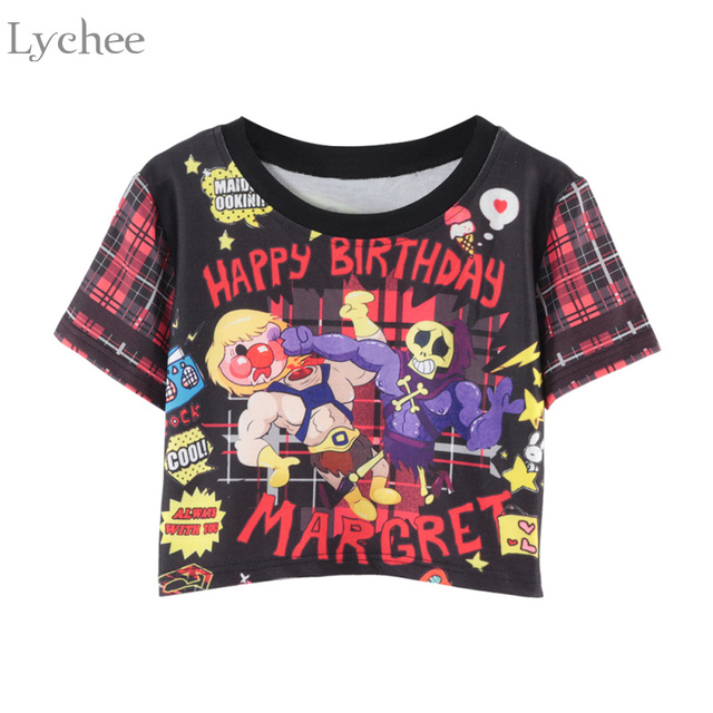 Lychee Harajuku Summer Women Crop Top T Shirt Cartoon Skull Plaid Patchwork  Back Letter Print Short Sleeve T Shirt a1dea9cd7faf