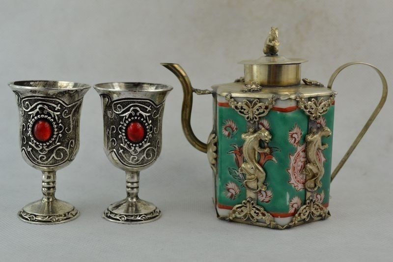 Décoré à la main en porcelaine Miao argent sculpté léopard fleur Rare théière tasse