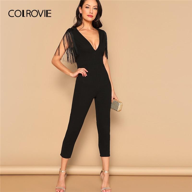 COLROVIE Black V-Neck Fringe Skinny Sexy Party Jumpsuit Romper 2019 Spring Office Ladies Elegant Jumpsuits For Women Combinaison