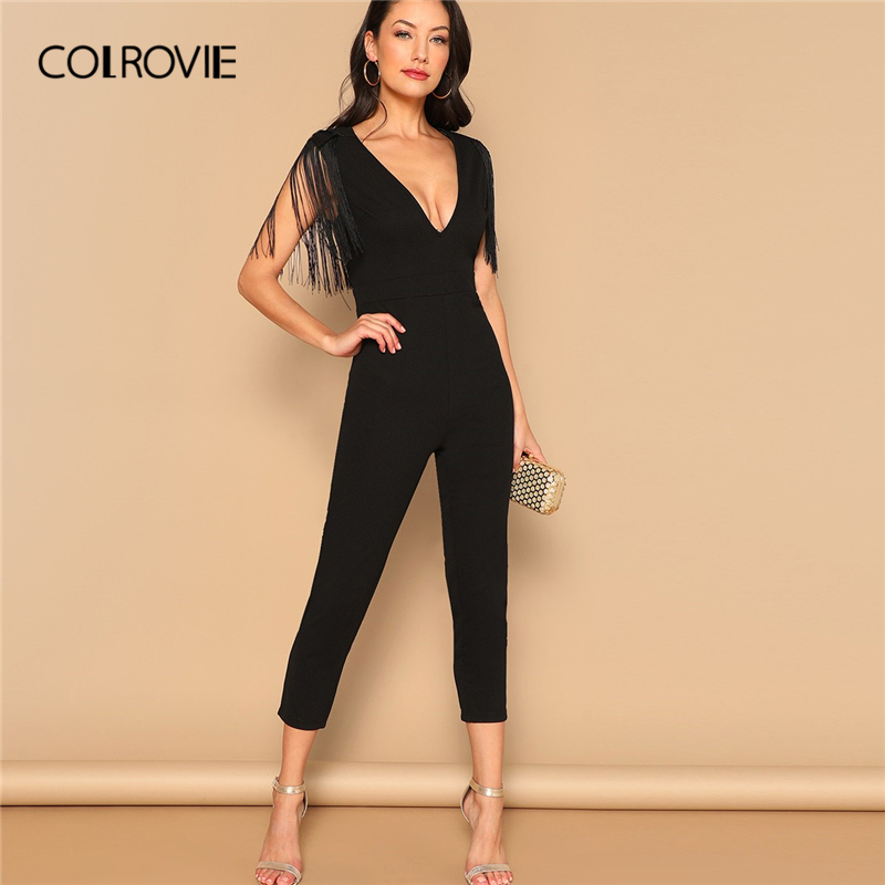 COLROVIE Black V-Neck Fringe Skinny Sexy Party   Jumpsuit   Romper 2019 Spring Office Ladies Elegant   Jumpsuits   For Women Combinaison