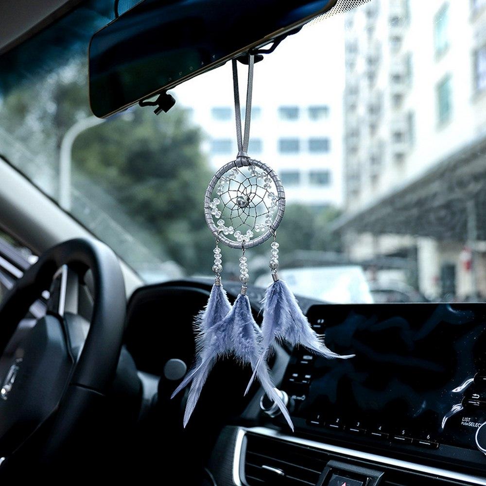 Mini Gray Car Dream Catcher Pendant Handmade Ethnic Style Hanging Decor Ornaments style car hanging
