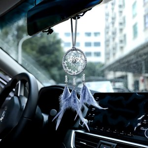 Mini Gray Car Dream Catcher Pendant Dream Catcher Handmade Ethnic Style Car Hanging Decor Ornaments Gray style car hanging