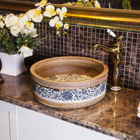 Antique washbasin home Chinese basin carving wash basin ceramic above counter basin wash basin LO6211149