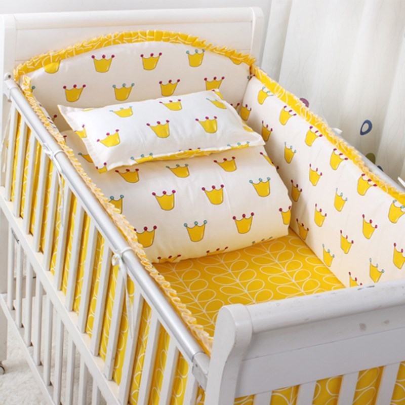 Cotton Baby Crib Bedding Set With Bumper Unisex Cotton Printed Cartoon Bed Safe Around Baby Bedding