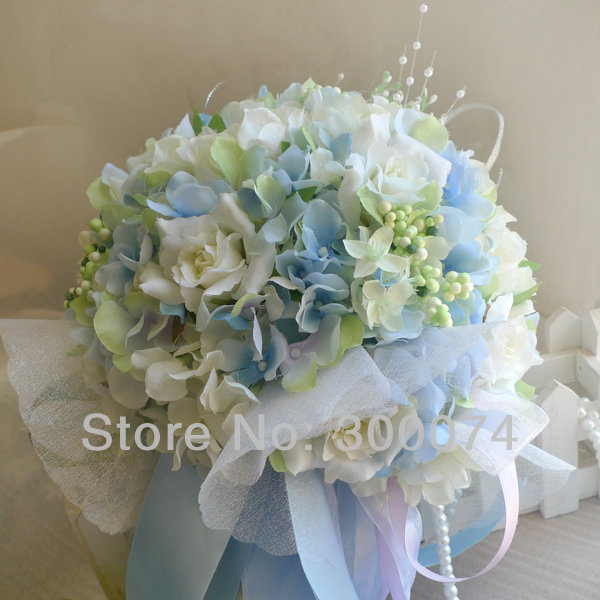 Quot bouquet artificial flowers hydrangea and rose arrangent
