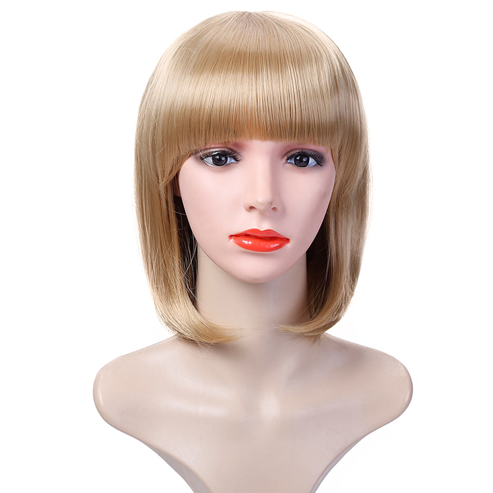 DIFEI African American Wigs for Black Women Heat Resistant Female Fake Hair Synthetic Short Straight Bob Wigs with Bangs
