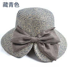 [FCY] summer new hat Korean version of the bow split fisherman female with big shade straw