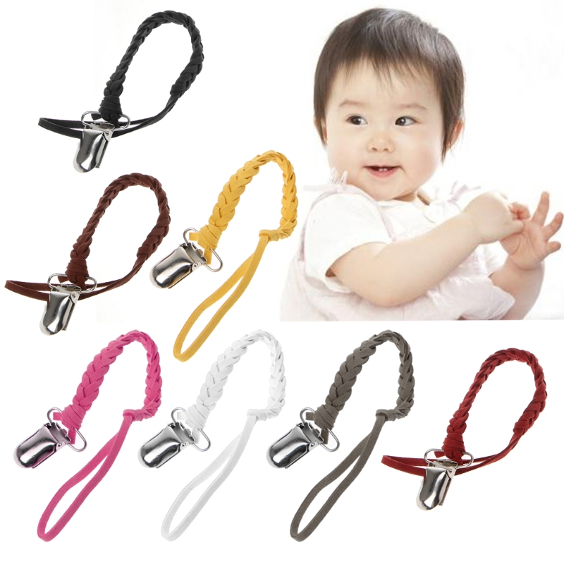 Leather Pacifier Clip Chain Nipple Dummy Clip Pacifier Holder Braided Binky Clip Sep7-A
