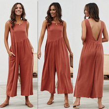 2019 Europe American New Jumpsuit Fashion Womens Solid Casual Loose Vest Hot Sale Plus XXXL