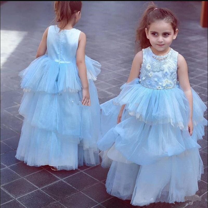2019 New Design Tiered Tulle Satin   Flower     Girl     Dress   with Lace Appliques Rhinestone Zipper Back Custom Made   Girls   Pageant Gowns