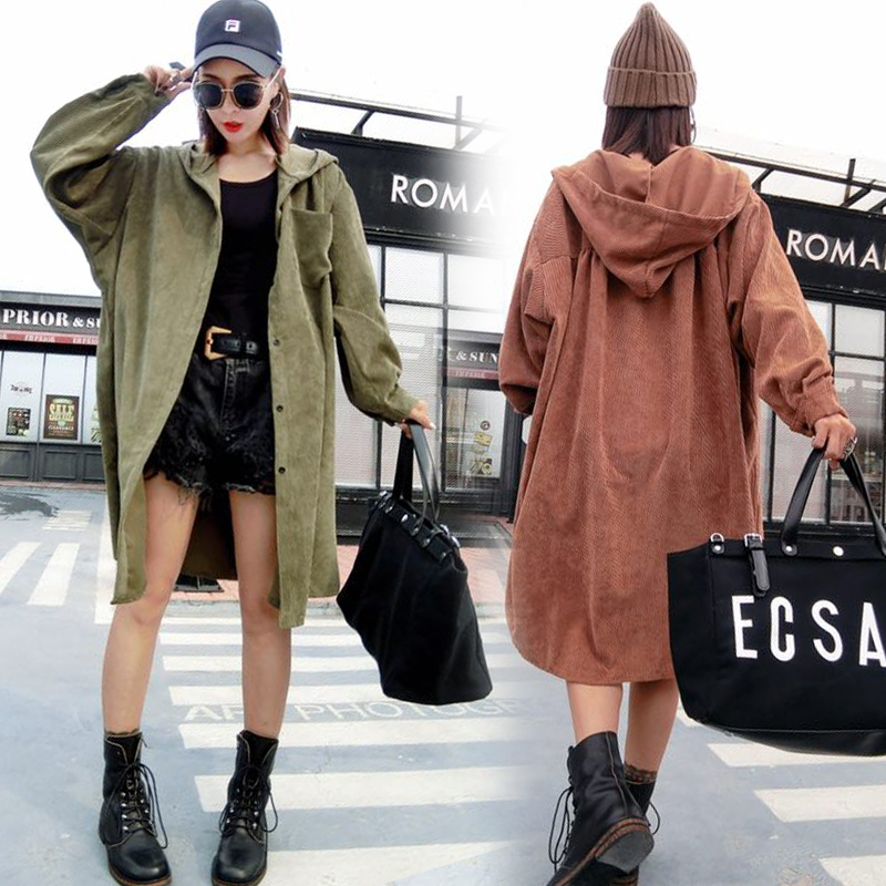 Corduroy Plus Size   Trench   Coat 2018 Women Vintage Korean Fashion Autumn Winter Long Hooded Coats Oversize sobretudo feminino