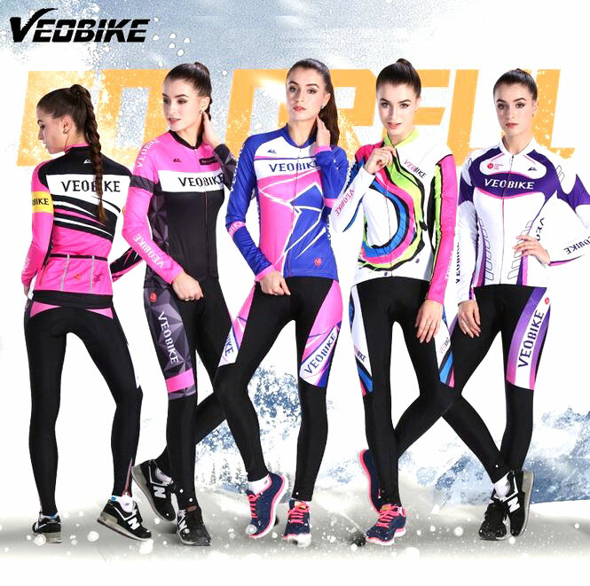 VEOBIKE Autumn Winter fleece MTB BIKE Cycling women Suits sets keep warm long sleeve bicycle riding jersey Bicycle Clothing dichski outdoor bike coat quick dry mtb riding pants mountain 2017 long sleeve cycling sets suit male autumn winter jersey h233