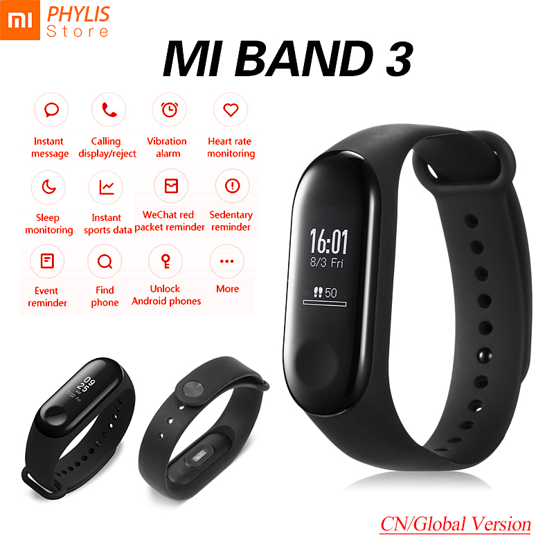Original Xiaomi Mi Band 3 Sport Smart Band Fitness Bracelet Pedometer Heart Rate Smart Wristband Touch Screen OLED Bluetooth 4.2