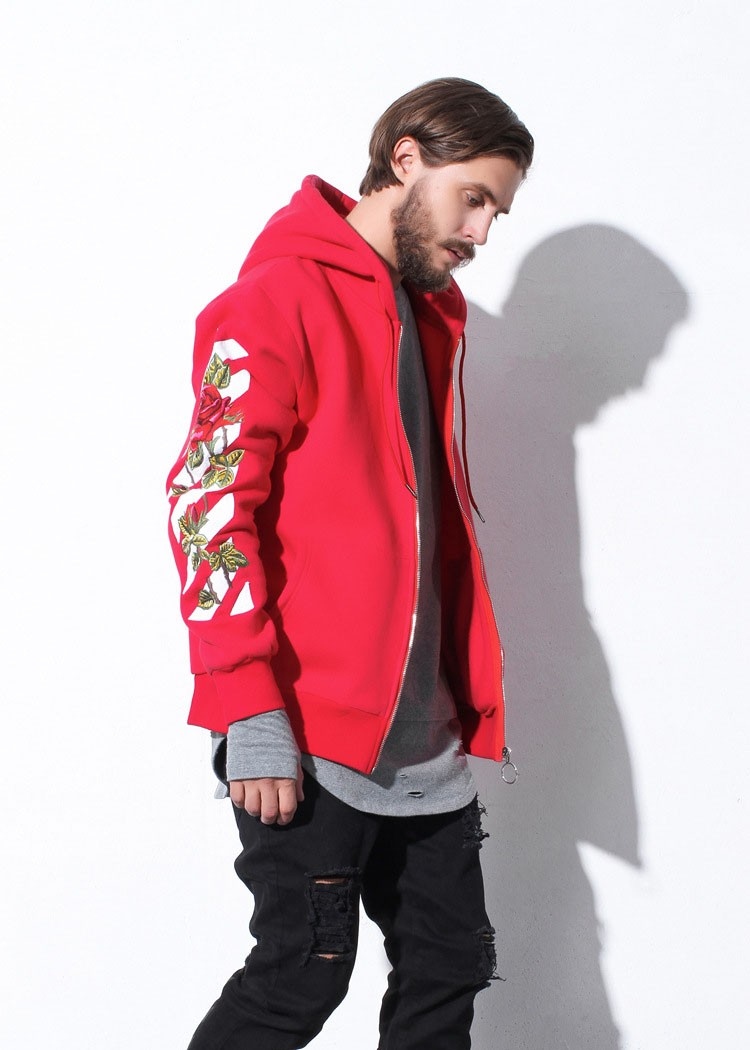 Aolamegs Men Hoodies Fashion Vintage Floral Embroidery Cardigan Jacket Hooded Zipper Outwear Off White Couples Red Black Hoodie (22)