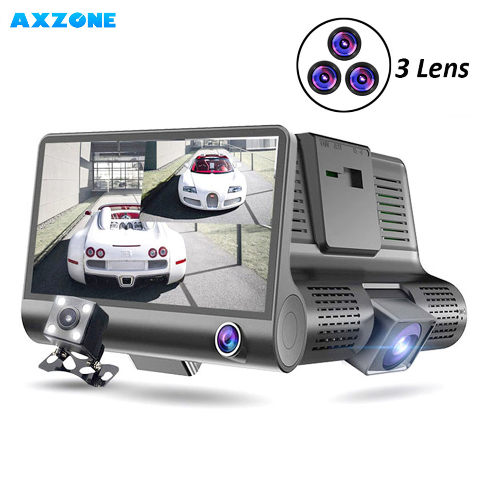AXZONE DVR Video-Recorder Dash-Cam 3-Cameras-Lens Auto-Registrator-Dvr 1080P Full-Hd