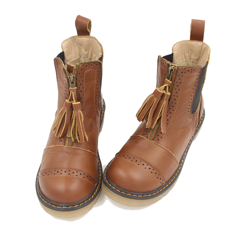 ФОТО Retro Trendy Womens Comfort Real Leather Martin Boots Girls Round Toe Tassel Brogue Oxfords Flat Ankle Boots