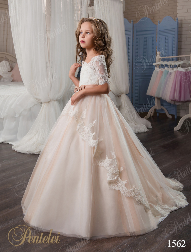 2017 pink long sleeve flower girls dresses for weddings