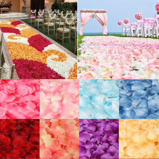500PCS/Lot 5*5CM Silk Rose Petals for Wedding Decoration Romantic Artificial Rose Flower 20 Colors Wedding Accessories #298244 5