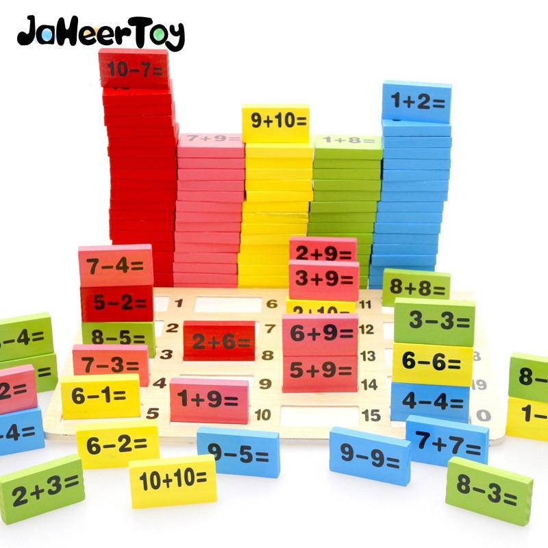 JaheerToy Montessori Jouet Éducatif En Bois Jouets Mathématiques pour Enfants Domino 3-4-5-6-7- 8 Ans Jeu Drôle Cadeaux Enfants