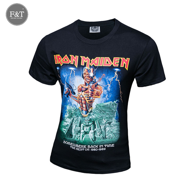 [Asian Size]New 2016 Men Summer Tees Plus Size O-neck Tshirt Short Sleeve T shirt Iron Maiden Printed Cotton 3D T-shirt Men XXXL