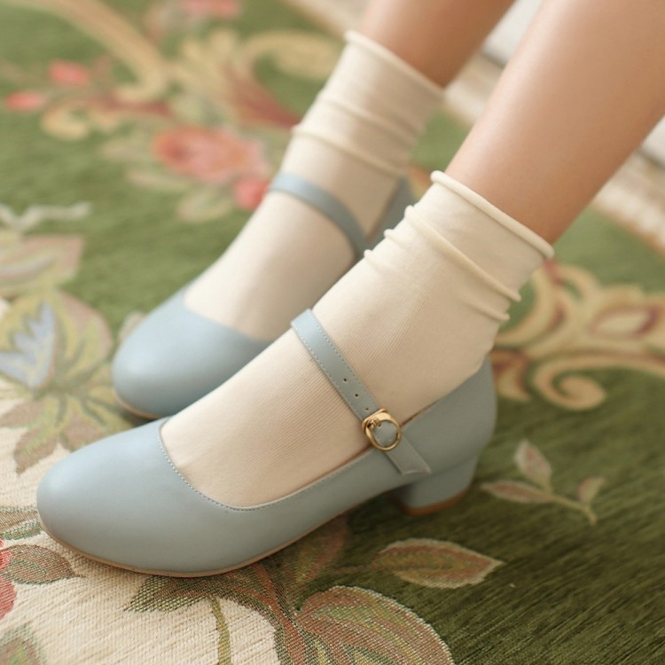 Blue Princess Lolita Love Live Cosplay Japanese Shoes Girl Maid Student Leather Pu Shoes High Quality Materials
