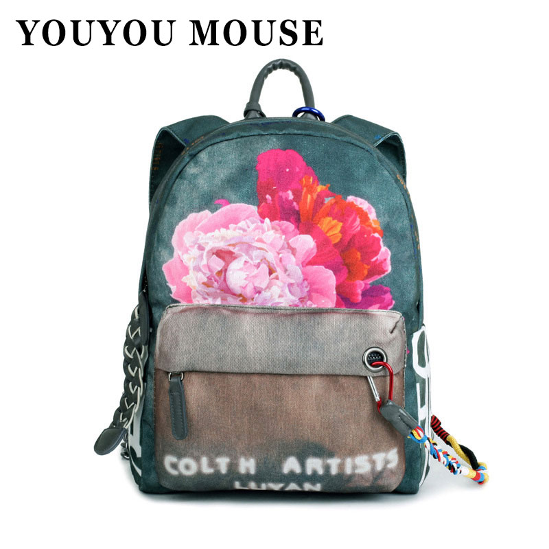 ФОТО YOUYOU MOUSE Flower Printing Backpacks Women Backpacks For Teenagers Fashion School Bags Travel National Style Canvas Bags