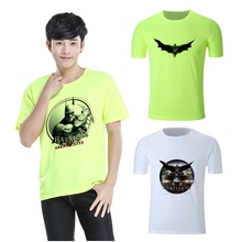 Cool Summer DC Comics Super hero Batman Printed Graphics Round Neck Short Sleeve T-Shirt Blended Sweat Absorbing Fitness Shirt