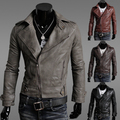 Free shipping Men Slim leather men's inclined zipper design leather jacket leisure jacket M-L-XL-XXL