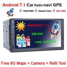7 дюймов 2 DIN Android 7.11 dvd-плеер автомобиля аудио стерео для универсального gps-навигация рулевого колеса 2Din Радио регистраторы Wi-Fi Географическая карта