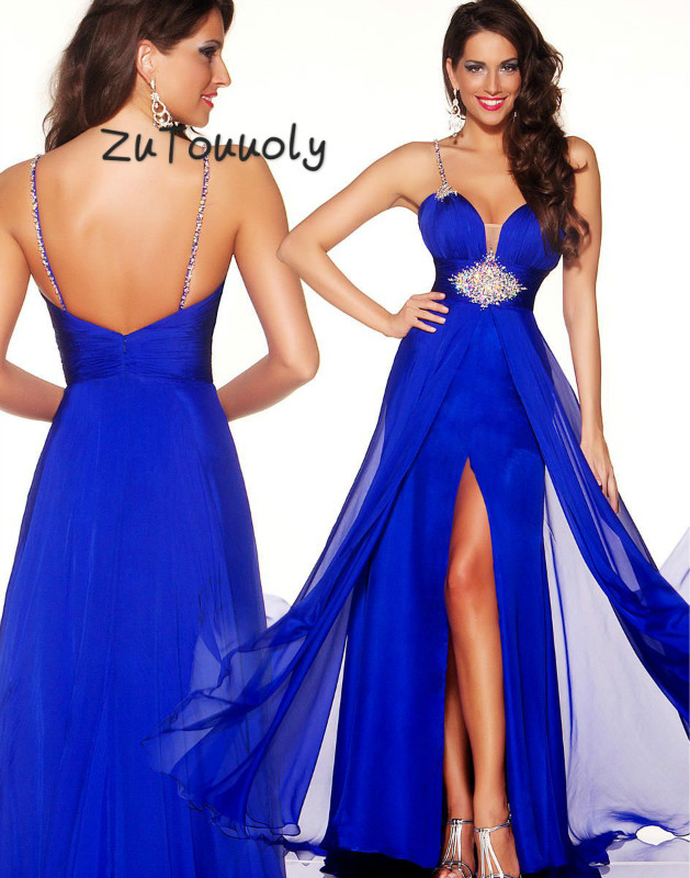 Vintage Royal Blue   Prom     Dresses   With Slits A Line Chiffon Beaded Formal Evening Gown Sexy Backless Summer Holiday   Prom   2019