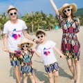 2017 Bohemian Beach Family Set Off Shoulder Mother/Mom and Daughter Dresses Father Son Clothes Family Clothing Sets 3XL GS40