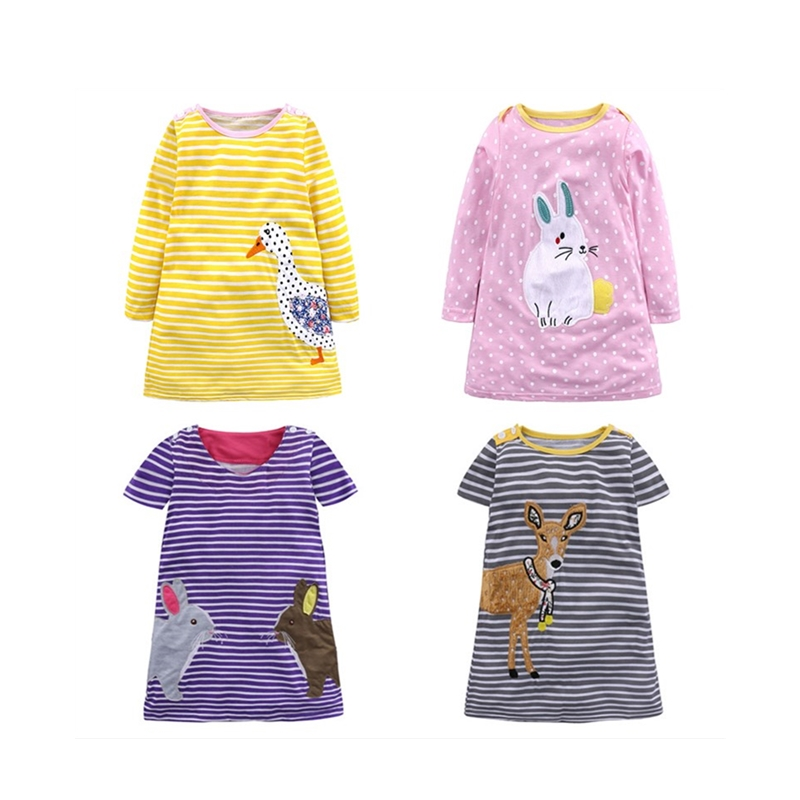 2018 NewCotton Girl Dress Spring Baby Girl Clothing Cartoon Children Clothes Cute Animal Roupas Bebe Summer Kid Clothes
