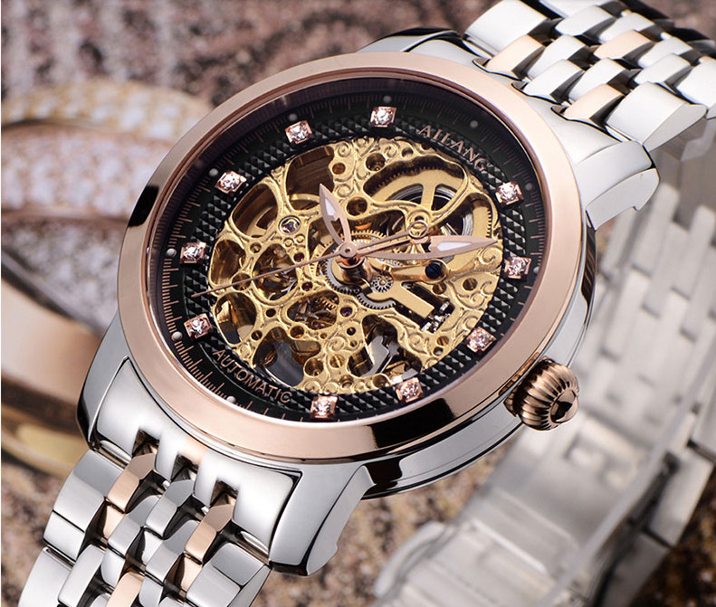 Vintage Men Luxury Crystals Business Stylish Dress Watches Skeleton Mechanical Self-wind Full Steel Wristwatch Analog Reloj W012 luxury men brand crystals dress watches self winding mechanical 316l band calendar wristwatch saphir relojes analog 3atm nw4239